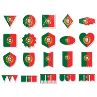 Collection of portugal flag stickers and pennants