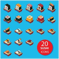 Collection of sushi icons