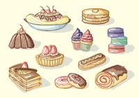 Collection of sweet food