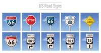 Collection of us road signs