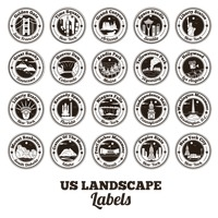 Collection of usa landscapes labels