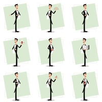 Collection of waiter in various activities
