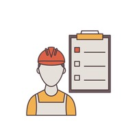 Construction worker and clipboard