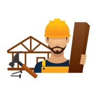 Construction worker with wood and tools