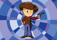 Cowboy over a geometric background
