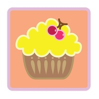 Cupcake with cherries over peach background