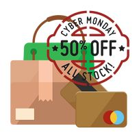 Cyber monday sale design and cardboard box with cash cards