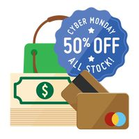 Cyber monday sale design and cash cards with dollar notes