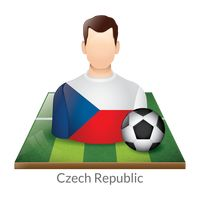 Czech republic player with soccer ball on field