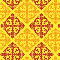 Damask vintage yellow and maroon pattern