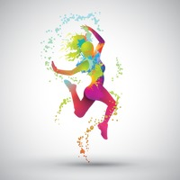 Dancing girl with colorful splashes