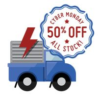 Delivery truck with cyber monday sale stamp