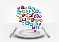 Dish with social media elements