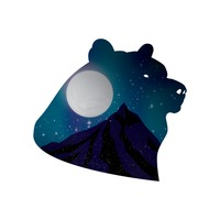 Double exposure of bear and night sky