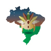 Double exposure of brazil map with headdress