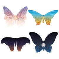 Double exposure of butterfly and nature set
