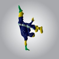 Double exposure of capoeira and brazil flag