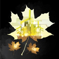 Double exposure of maple leaf and factory