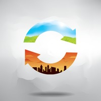 Double exposure of refresh symbol with nature and cityscape