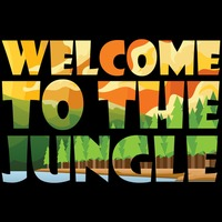 Double exposure of word welcome to the jungle