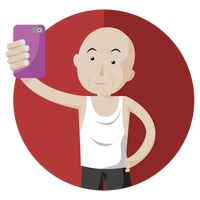 Elderly man taking selfie