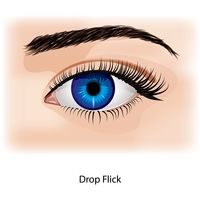 Eye with drop flick