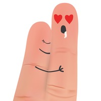 Finger couple hugging