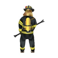 Firefighter holding stick