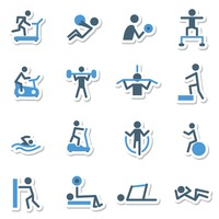 Fitness work out icons
