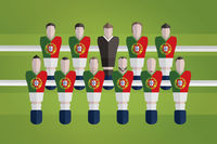 Foosball figurines represent portugal football team