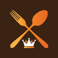 Fork and spoon with a crown icon