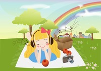 Girl listening to music in park