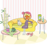 Girl with face pack sitting on sofa