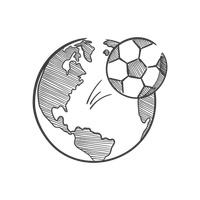 Globe and soccer ball