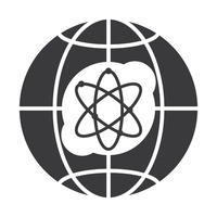 Globe icon with atomic symbol