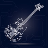 Guitar design on circuit board background