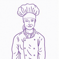 Hand drawn lady chef