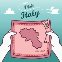 Hands holding naples paper map