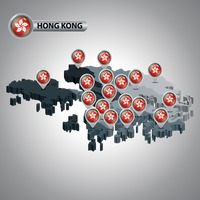 Hong kong map with territory map pointers