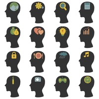 Human head silhouette icons