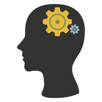 Human head silhouette with gears