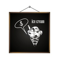 Ice cream with dollar sign in speech bubble