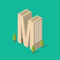 Isometric building with alphabet m