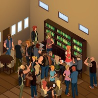 Isometric people in bar
