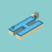Isometric swimming pool design of alphabet h