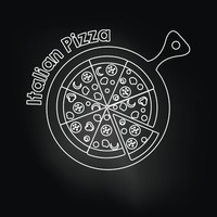 Italian pizza over black background