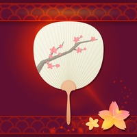 Japanese fan with cherry blossom tree