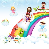 Jesus and girl on a rainbow slide