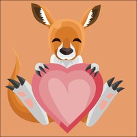 Kangaroo holding a heart on peach background