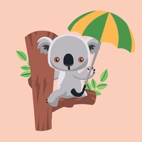 Koala bear holding umbrella